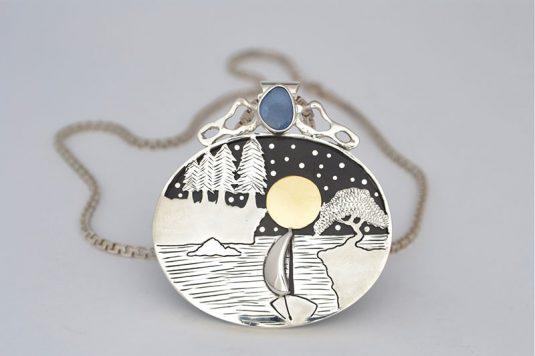 Colgante de Plata, Oro, Ebano y Opalo Azul